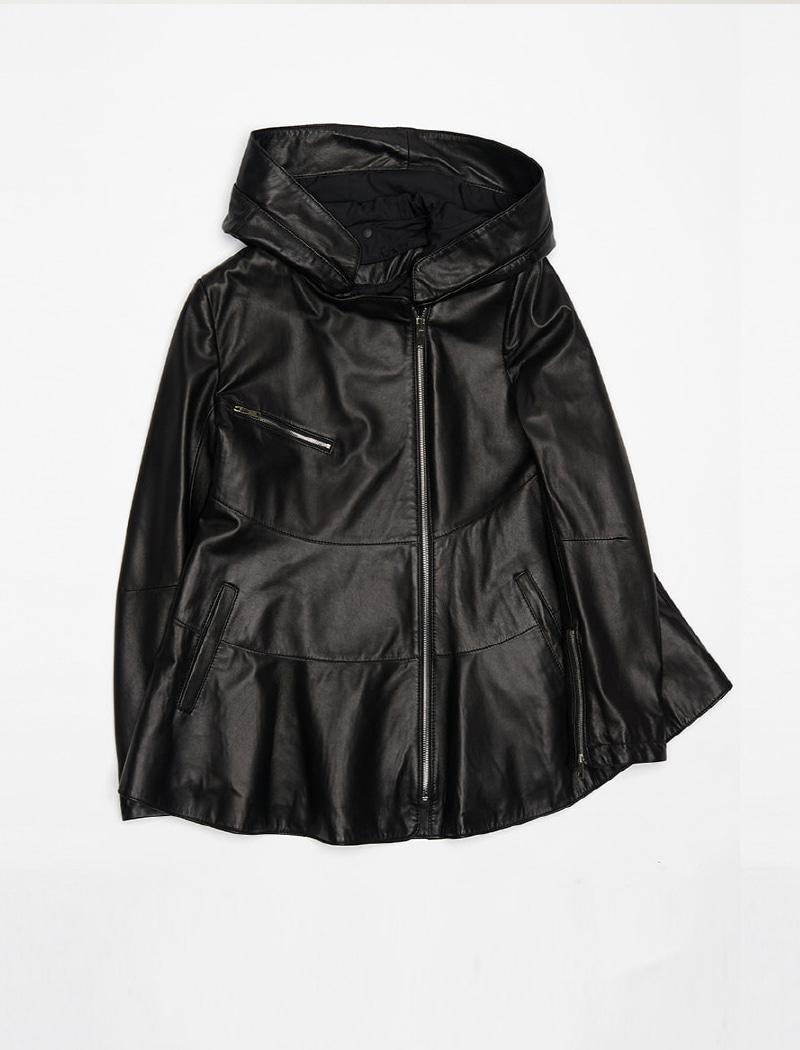 [REAL LEATHER] Hood Detail Leather Jacket