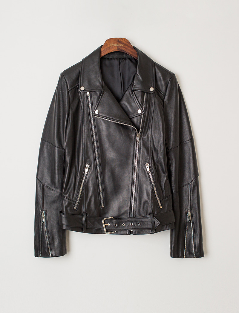Belt Point Leather Jacket