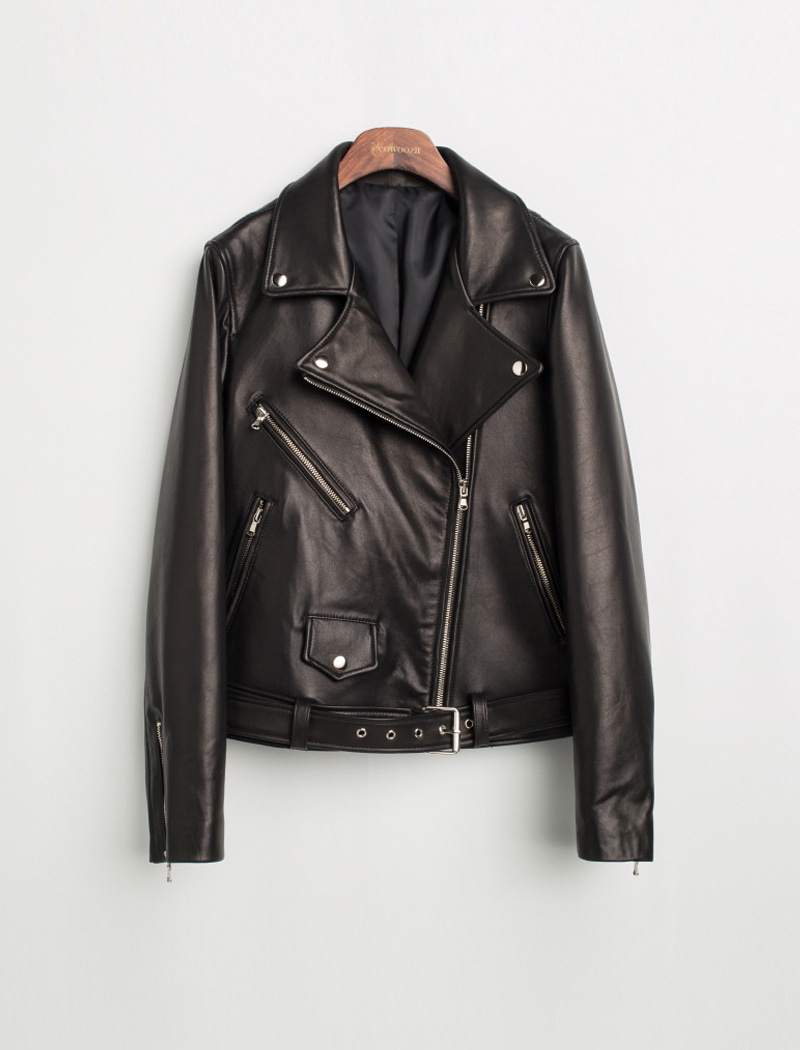 Basic Belt Leather Jacket